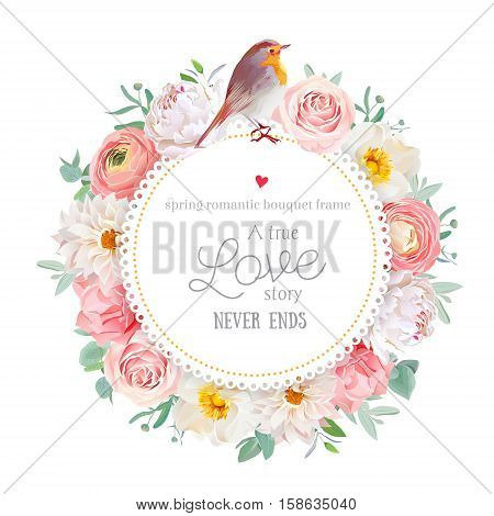 Cute floral vector round card with white peony peachy rose and ranunculus dahlia carnation flowers eucalyptus leaf mixed plants and cute small robin bird. All elements are isolated and editable.