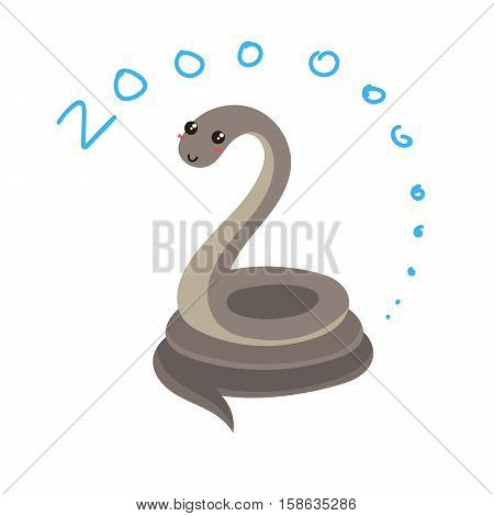 Cute Vector Zoo Animal. Kawaii eyes and style. Doodle illustration. Snake