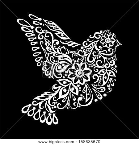 beautiful black and white Zentangle stylized dove. Vintage sketch for tattoo design or mehandi. greeting card and invitation of wedding birthday Valentine's Day mother's day and seasonal holiday