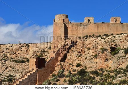 View of the walls and entrance of the Alcazaba of Almeria (Almeria Castle), Spain