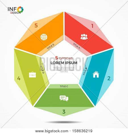 Colorful Infographic Template With 5 Options Circle Chart