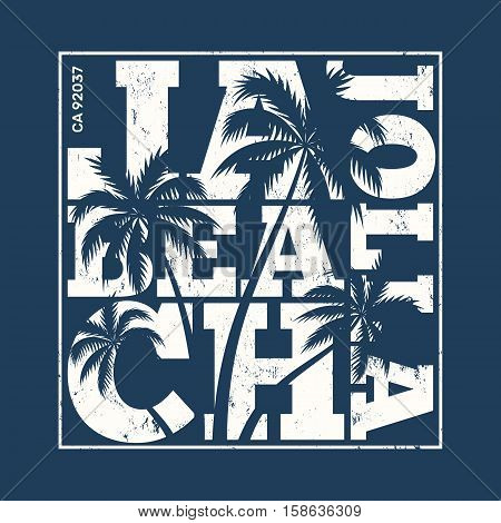 La Jolla Tee Print With Palm Trees. T-shirt Design, Graphics, Stamp, Label, Typography.