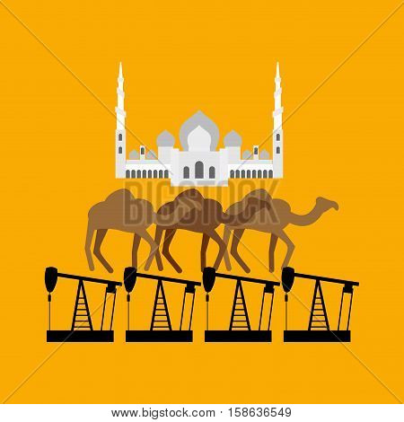 Uae System. Sheikh Zayed Mosque Stands On Camel And Oil Rig