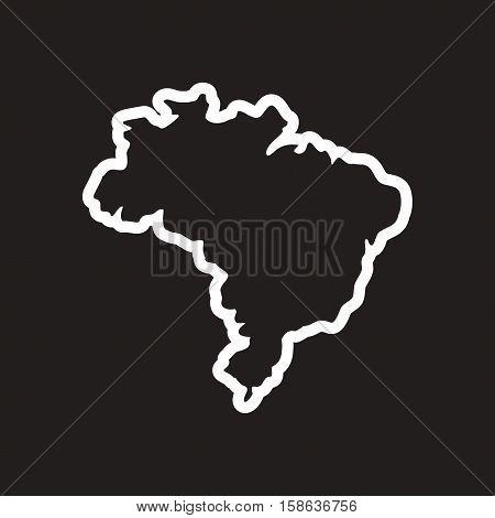 stylish black and white icon Brazilian map