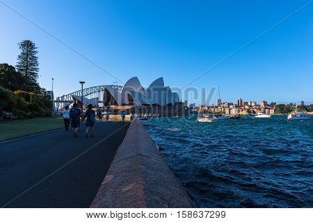 View of  Sydney Opera House  Sydney Australia.NOV 28,2016. Sydney Opera House is modern building, well known worldwide. Designed by Danish architect John Byers industry Saunders.