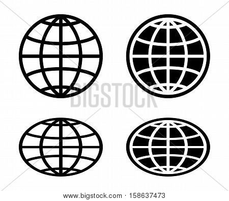 Globe icon set on a light background.