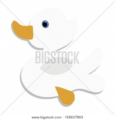 colored icon cute baby white duck on a white background. Website template or decal patch label for clothing. Vector illustration