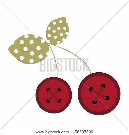 colored icon cute baby berry cherry button in cartoon style on white background. Website template or decal patch label for clothing. Vector illustration