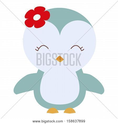 colored icon cute baby penguin in cartoon style on white background. Website template or decal patch label for clothing. Vector illustration