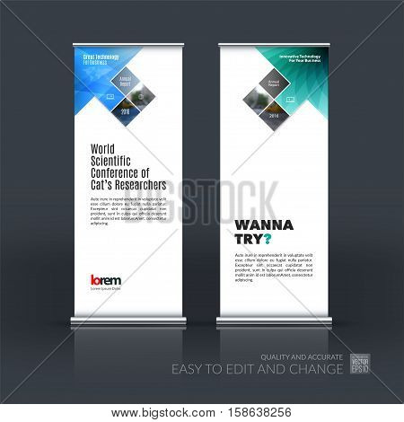 Business vector set of modern roll Up Banner stand design with arrow, rectangles, squares, diagonal house window for real estate, business, building. Exhibition, fair, show. Abstract creative art.