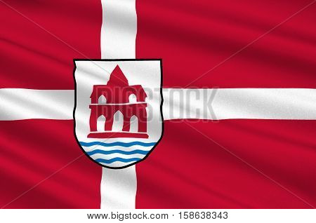 Flag of Sonderborg in Southern Denmark Region. 3d illustration