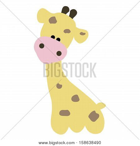colored icon of a cute baby giraffe in cartoon style on white background. Website template or decal patch label for clothing. Vector illustration