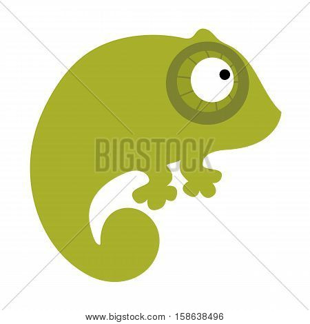colored icon cute baby green chameleon on a white background. Website template or decal patch label for clothing. Vector illustration