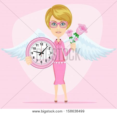 Female angel with beautiful wings holding a pink watchs and flowers she congratulates you. Time to love and live . Stock Vector illustration