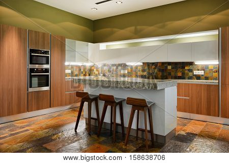Russia,Moscow region -kitchen interior in luxury country house