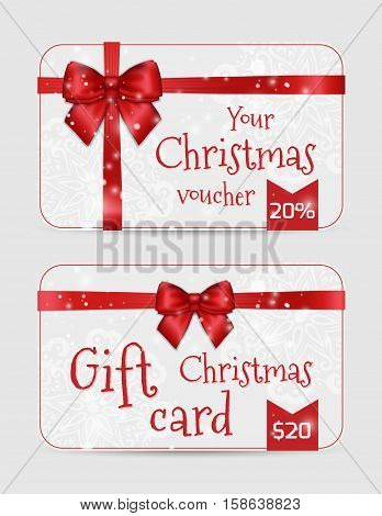 Christmas Ornamental Cards With Shiny Holiday Red Satin Ribbon. New Year Template For Greetings, Inv
