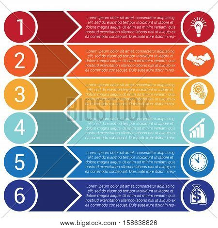 Circles horizontal colorful arrows and strips bars infochart areachart presentation or templates for 6 positions infographics