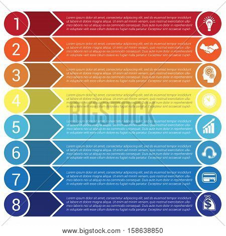 Circles horizontal colorful arrows and strips bars infochart areachart presentation or templates for 8 positions infographics