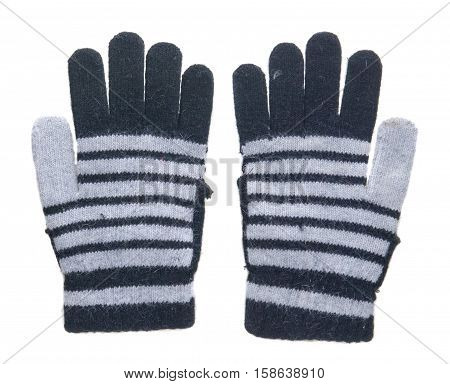 Knitted Gloves. Gloves Isolated On White Background. Gloves A Top View.gloves Stripes