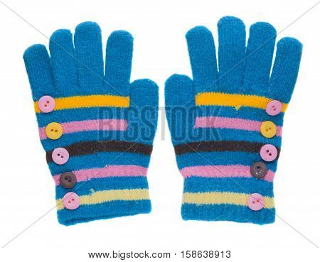 knitted gloves. gloves isolated on white background. gloves a top view.blue gloves stripes .