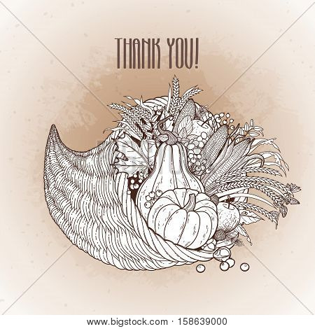 Graphic cornucopia drawn in line art style. Thanksgiving day art. Vector illustration isolated on the vintage background in ocher colors.