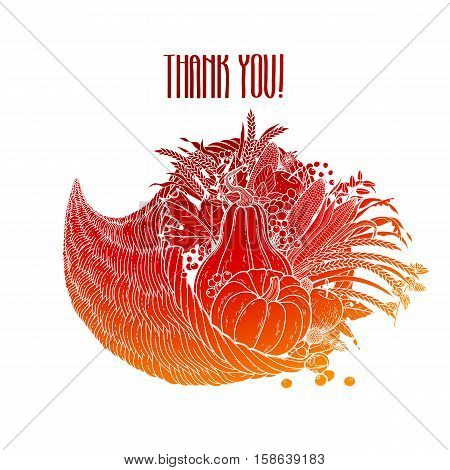 Graphic cornucopia drawn in line art style. Thanksgiving day art. Vector illustration isolated on white background in red colors.