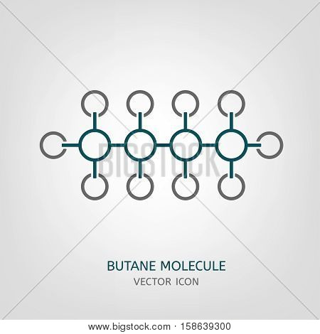 Butane molecule in flat style. C4H10 vector illustration isolated on a light grey background. Scientific, chemical, educational and popular-scientific concept.