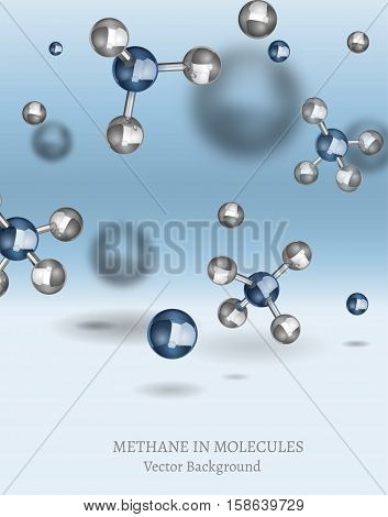 Scientific backdrop with Methane molecules in 3D style. CH4 vector illustrations isolated on a light blue background. Chemical, educational and popular-scientific concept.