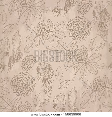 Graphic ginseng seamless pattern with roots and berries drawn in line art style. Herbal medicine.