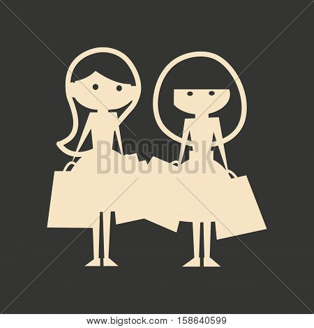 Flat in black and white mobile application girlfriends shopping