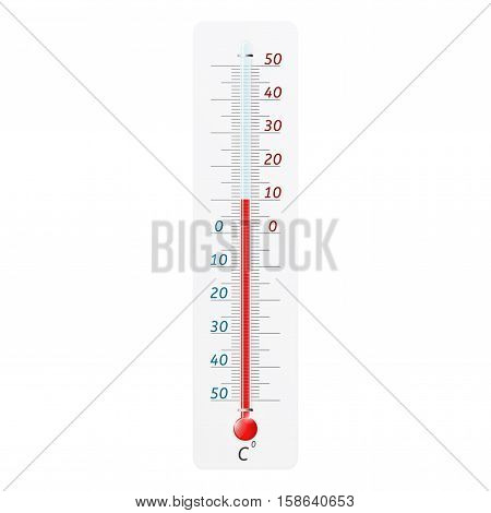 Thermometer. Weather outdoor temperature meter. Vector illustration isolated on white background