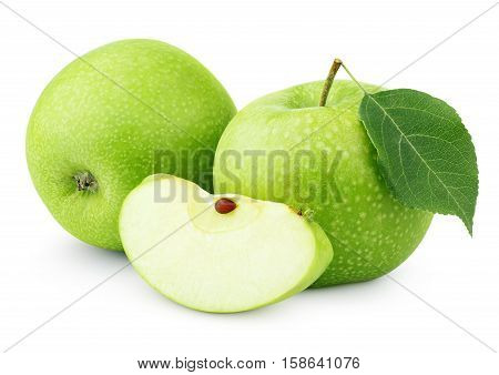 Green Apples With Leaf And Slice Isolated On White