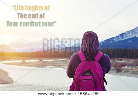 Life begins at The end of Your comfort zone motivation quote