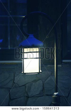 vintage street lamp at night, light in the night