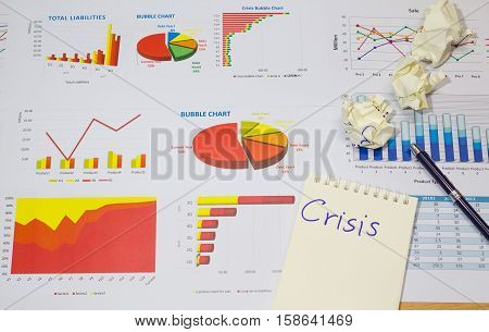 bubble crisis graph financial report show recession of economic collapse