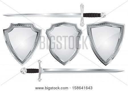 Set of metal shields with swords. Vector illustration isolated on white background