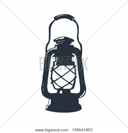 Hand-drawn vintage kerosene lamp. Sketch oil lantern. Vector illustration.