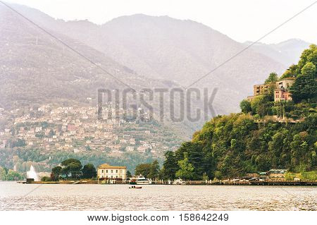 Italy. Lake Como at sunset. Lake Como - the third largest lake in the north of Italy Lombardy.