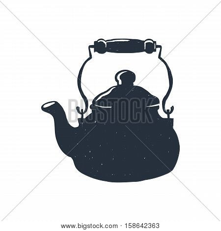Hand-drawn vintage kettle. Sketch style. Vector illustration. T-shirt print. Poster. Isolated on white background.