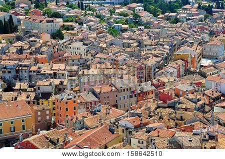 Many roofs in town Rovinj  in Croatia