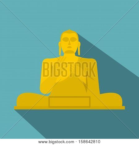 Golden Buddha at the Golden Temple of Dambulla, Sri Lanka icon. Flat illustration of Golden Buddha at the Golden Temple of Dambulla vector icon for web isolated on baby blue background