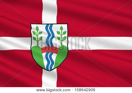 Flag of Vejle in Southern Denmark Region. 3d illustration