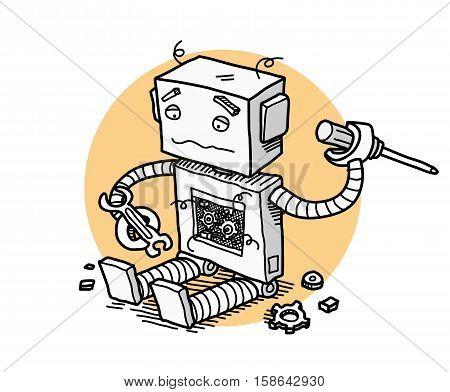 Broken Robot Fix Technology. A hand drawn vector cartoon illustration of a broken robot trying to fix itself.