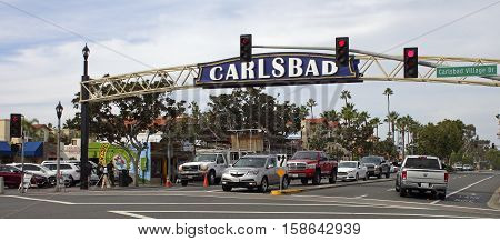 CARLSBAD, CA - NOVEMBER 15 :Historic heart of Carlsbad, California on November15, 2016. Historical district features a bustling entertainment scene with bars and restaurants.
