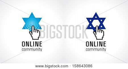 Online jewish community vector logo. The sign of internet education, religious Torah debate or global Tanah school in the shape of King David star, pointing pixel hand and call signal. Radio wave. poster