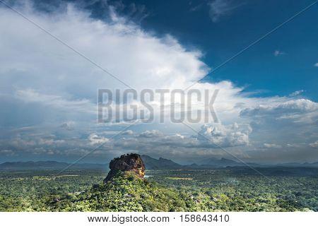 Sigiriya Lion Rock fortress and landscape in Sri Lanka.