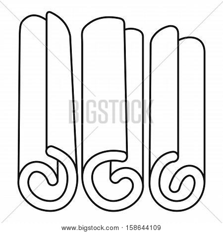 Rolled dry cinnamon icon. Outline illustration of rolled dry cinnamon vector icon for web
