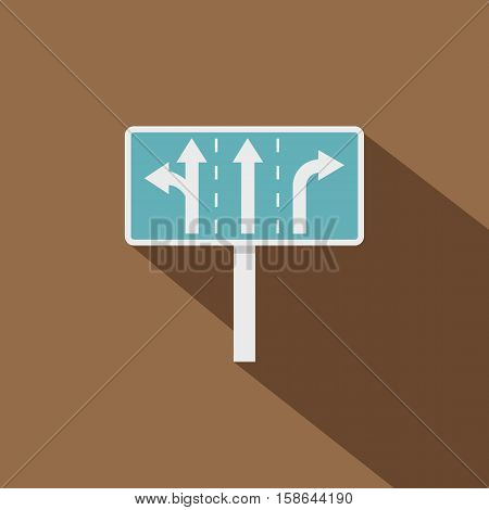 Appropriate traffic lanes at crossroads junction icon. Flat illustration of appropriate traffic lanes at crossroads junction vector icon for web isolated on coffee background