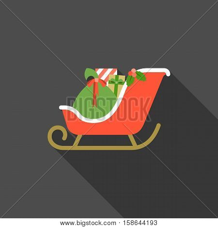 Christmas sleigh icon, Santa 's sleigh with present boxes illustration, flat design with long shadow