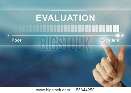 business hand pushing excellent evaluation on virtual screen interface